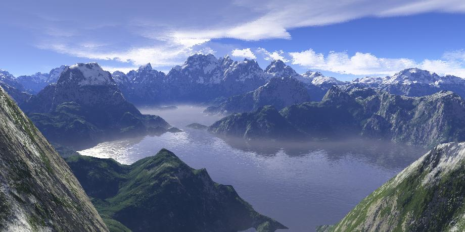 Image of lake surrounded by mountains